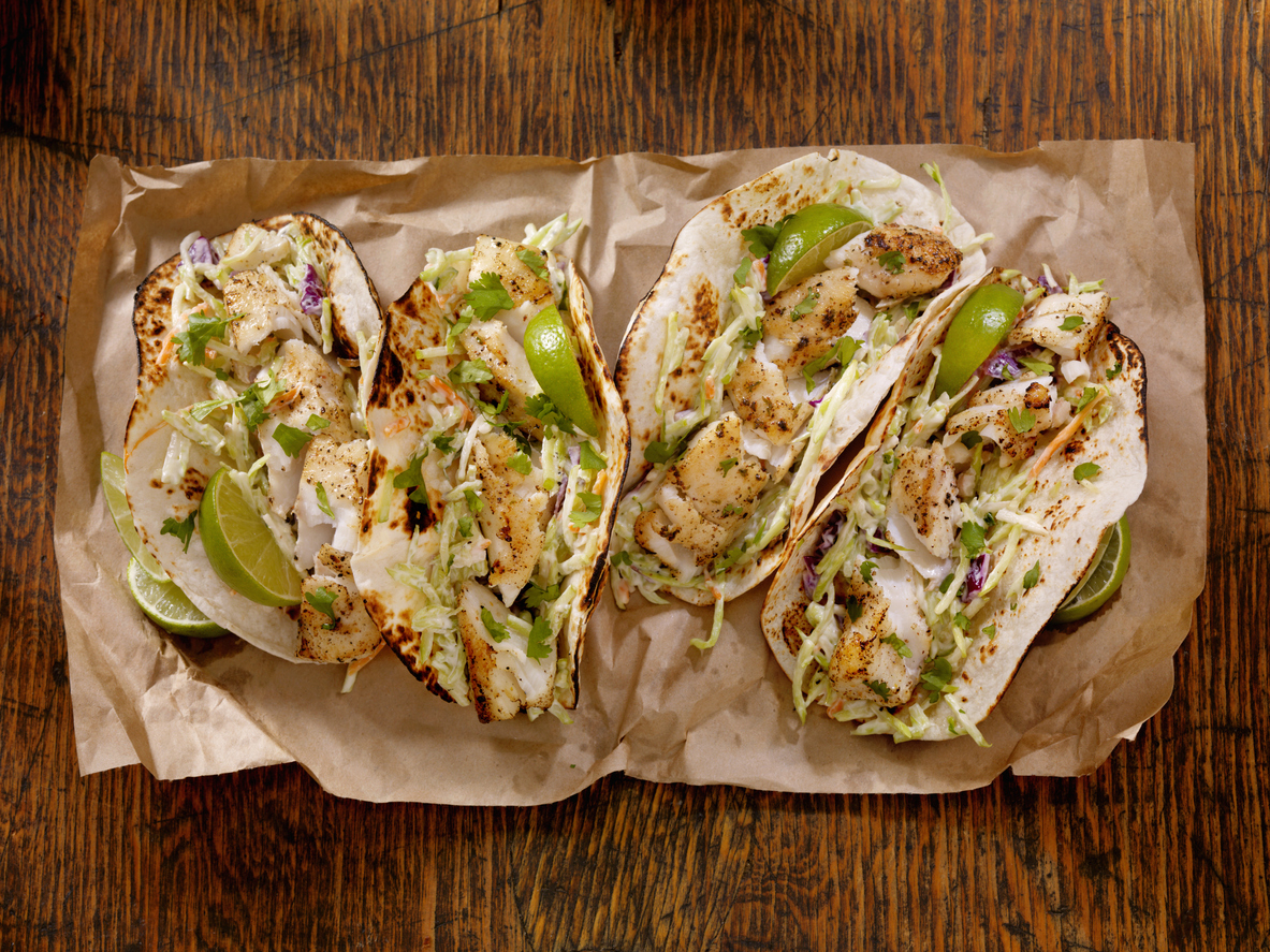Grilled Fish Tacos with Creamy coleslaw, Lime and Fresh Cilantro
